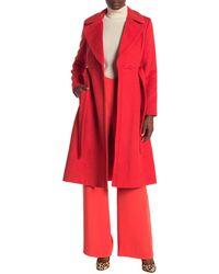 Diane von Furstenberg Mikhalia Notch Lapel Wool Blend Coat - Red