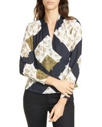 Ted Baker Pearl Print Wrap Blouse - White