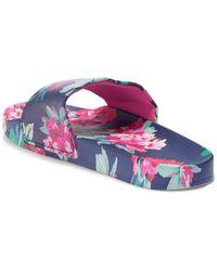 Joules Poolside Printed Slide Sandal - Purple
