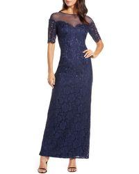 Eliza J Illusion Top Lace Evening Gown - Blue