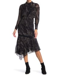 Reiss Luiza Spot Burnout Long Sleeve Midi Dress - Black