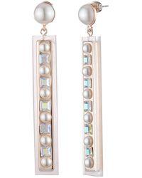 Carolee Imitation Pearl Cz Embellished Resin Linear Drop Earrings - Metallic