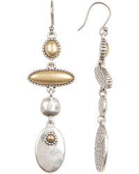 Lucky Brand - Two-tone Cabochon Detail Linear Drop Earrings - Lyst