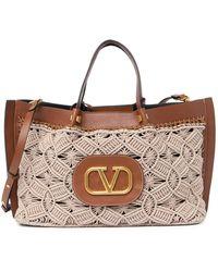 Valentino Garavani V-logo Tote Bag - Brown