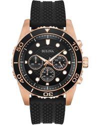 Bulova - Men's Chronograph Quartz Black Silicone Strap Watch, 43mm - Lyst