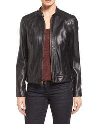 Cole Haan - Genuine Lamb Leather Moto Jacket - Lyst