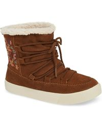 132b93b3cda Lyst - TOMS Alpine Suede And Faux Fur Slipper Booties in Brown