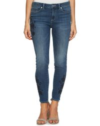 Cece by Cynthia Steffe - Floral Embroidered Skinny Jean - Lyst