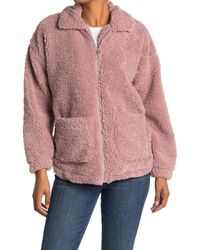 Thread & Supply Faux Shearling Teddy Zip Up Coat - Pink