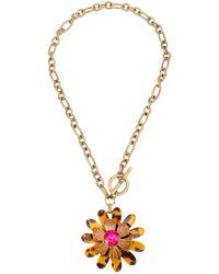 Betsey Johnson Tortoise Daisy Toggle Pendant Necklace - Metallic