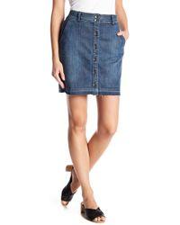 Splendid - Frayed Hem Button Front Skirt - Lyst