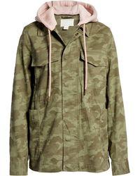 Caslon Hooded Utility Jacket - Green