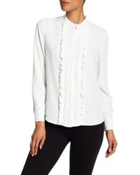 Anne Klein - Ruffle Front Blouse - Lyst
