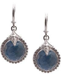 Armenta New World Sterling Silver Bezel Set Blue Quartz, Labradorite, & White Quartz Triplet Pave Diamond Halo Drop Earrings