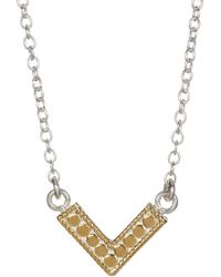 Anna Beck - Sterling Silver & 18k Gold Reversible Mini V Necklace - Lyst
