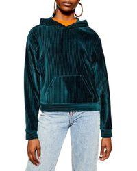 TOPSHOP Cord Velour Hooded Sweatshirt - Green