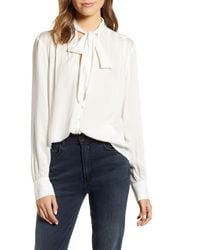 7 For All Mankind 7 For All Mankind Tie Neck Blouse - White