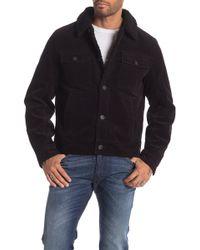 Lucky Brand Corduroy Faux Fur Jacket - Black