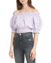 Alice + Olivia Caprina Off The Shoulder Cotton Blend Smock Waist Top - Purple