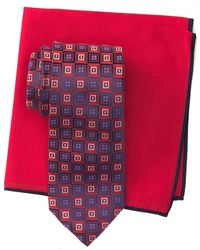 Ted Baker Silk Gradient Square Tie & Pocket Square Set - Red