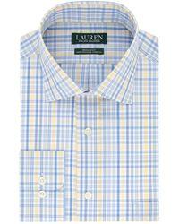 Lauren by Ralph Lauren Regular Fit Stretch Plaid Dress Shirt - Blue