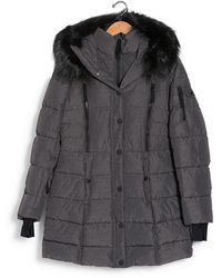Nautica Faux Fur Trim Hooded Bib Parka Jacket - Gray
