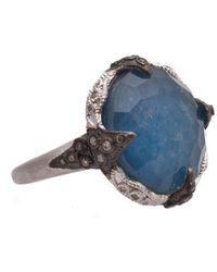 Armenta New World Sterling Silver Gemstone & Diamond Triplet Ring - Size 6.5 - Blue