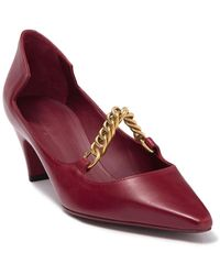 Burberry Link Detail Leather Point-toe Pump - Red