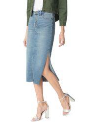 Sam Edelman The Maribelle Mid Rise Denim Skirt - Blue