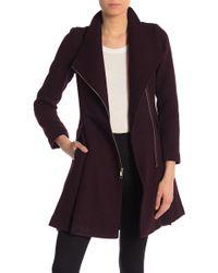 Guess Textured Wool Blend Skirted Walker Coat - Multicolour