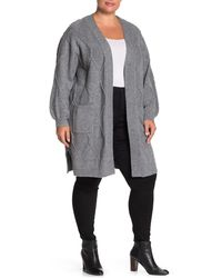Pleione Cable Knit Open Front Cardigan (plus Size) - Gray