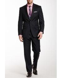 Calvin Klein - Grey Sharkskin Two Button Notch Lapel Wool Suit - Lyst