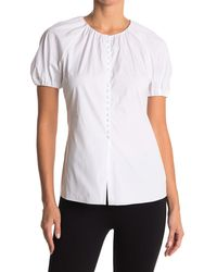 Theory Puffed Sleeve Button Front Blouse - White