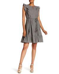 Everleigh Ruffle Sleeve Waist Tie Dress - Gray