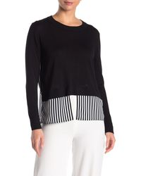 Cliche Printed Twofer Sweater - Black
