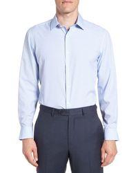 W.r.k. Trim Fit Geometric 4-way Stretch Dress Shirt - Blue