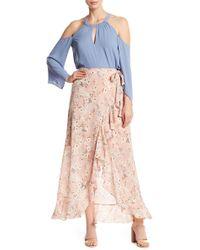 BCBGMAXAZRIA - Floral Ruffle Wrap Maxi Skirt - Lyst