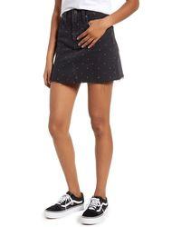 Madewell Metallic Rainbow Dots Rigid Denim A-line Miniskirt - Black