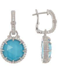 Judith Ripka Sterling Silver Eclipse Earrings - Blue