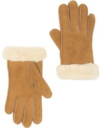 UGG Genuine Dyed Shearling Slim Side Vent Gloves - Brown
