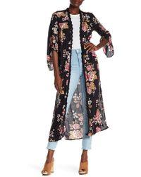 Angie - Crochet Trim Maxi Kimono - Lyst