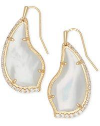 Kendra Scott Tulip 14k Gold Plated Ivory Mother-of-pearl Cz Teardrop Earrings - White