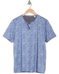 Con.struct Textured Print Performance Short Sleeve Henley Shirt - Blue