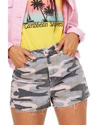 52d8fb9cd Lyst - TOPSHOP Moto 'rosa' Cuffed Denim Shorts in Blue