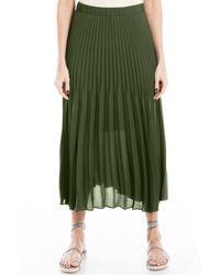 Max Studio Pleated Midi Skirt - Green