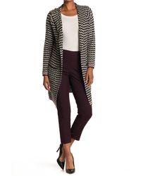 Joseph A Wavy Stripe Hooded Long Cardigan Sweater Coat - Black