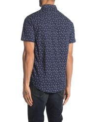 Report Collection - Floral Short Sleeve Slim Fit Sport Shirt - Lyst