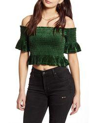 BP. Off The Shoulder Velvet Crop Top - Green