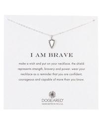 Dogeared Sterling Silver I Am Brave Shield Pendant Necklace - Metallic