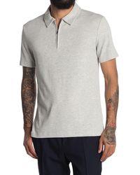 Reiss Barton Half Zip Pique Tipped Polo Shirt - Grey